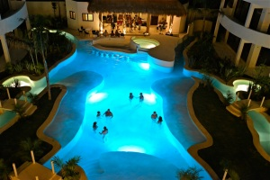 Who says you can't be naked at night? Mak Nuk Village in Tulum has a wonderful pool area